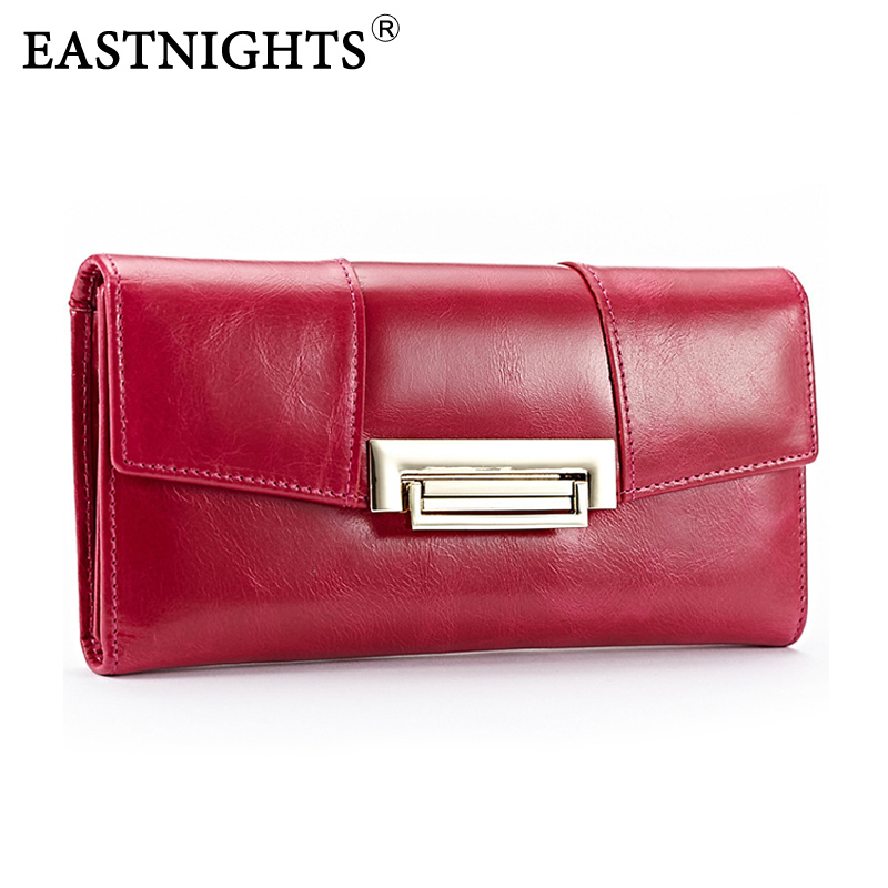 ФОТО EASTNIGHTS High Quality Cowhide wallets New vintage women wallet Genuine Leather designers brand wallets lady Fashion clutch