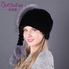 Handmade autumn and winter womens authentic full leather rabbit fur hat silver fox tail ladies warm