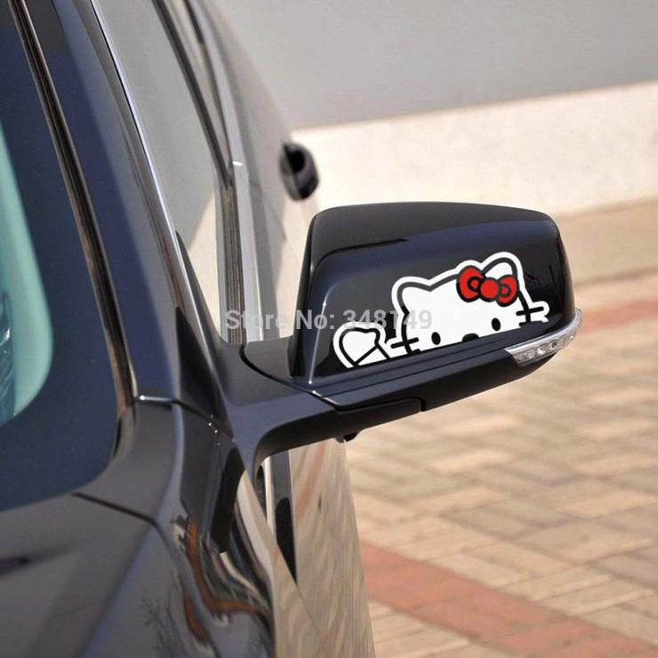 2 x Lovely Hello Kitty Car rearview mirror Stickers Decal for Toyota Ford Focus Chevrolet Cruze Volkswagen Honda Hyundai Lada