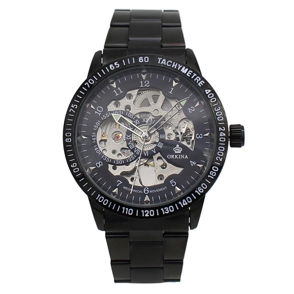 MG. ORKINA Relógio Masculino Moda Casual Relógio Mecânico Automático de Esqueleto do relógio de Pulso dos homens Banda de Aço Inoxidável Erkek Kol Saati