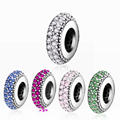 6 Style DIY Fit Original Pandora Charms Bracelet Jewelry Making Authentic 100% 925 Silver Beads Inspiration Spacer Charm With CZ