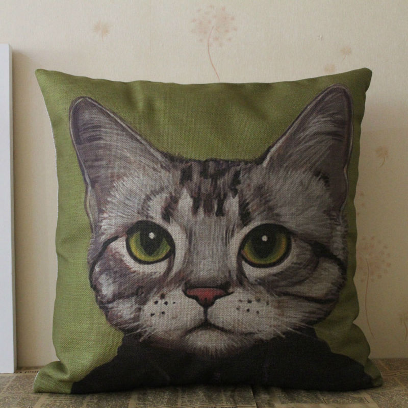LINKWELL 18x18 Green Cat Man Cartoon Pet for Kid Room Decor Burlap Pillow Case Seat Sofa Patio Cushion Cover Car Pillowcase