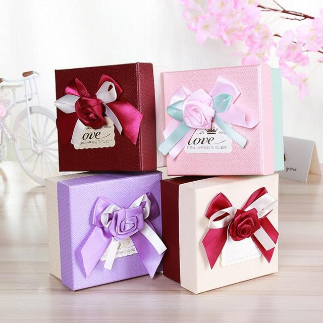 Us 16 9 10pcs New Square Wedding Candy Box Romanticribbon Flower Gift Bag Engagement Wedding Favors And Gifts Box Party Supplies In Gift Bags