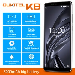 Oukitel K8 6.0''HD 18:9 Incell Display 4GB RAM 64GB ROM MT6750T Octa Core Android 8.0 13MP+5MP Camera 4G Fingerprint Smartphone