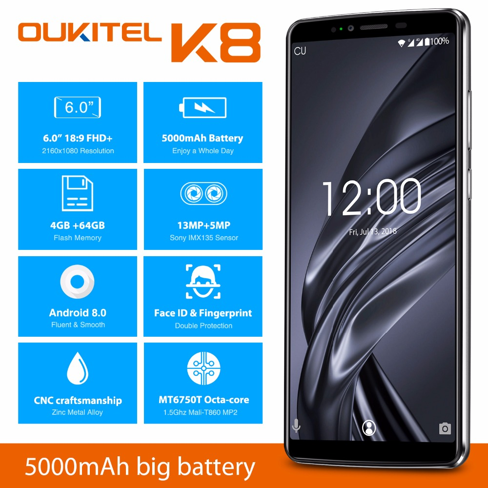 Oukitel K8 6.0''HD 18:9 Incell Display 4GB RAM 64GB ROM MT6750T Octa Core Android 8.0 13MP+5MP Camera 4G Fingerprint Smartphone