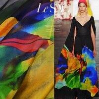 DIY 2017 Designer Color Blocking Printed Ultra Thin Transparent China 100 Silk Chiffon Fabrics Textile For