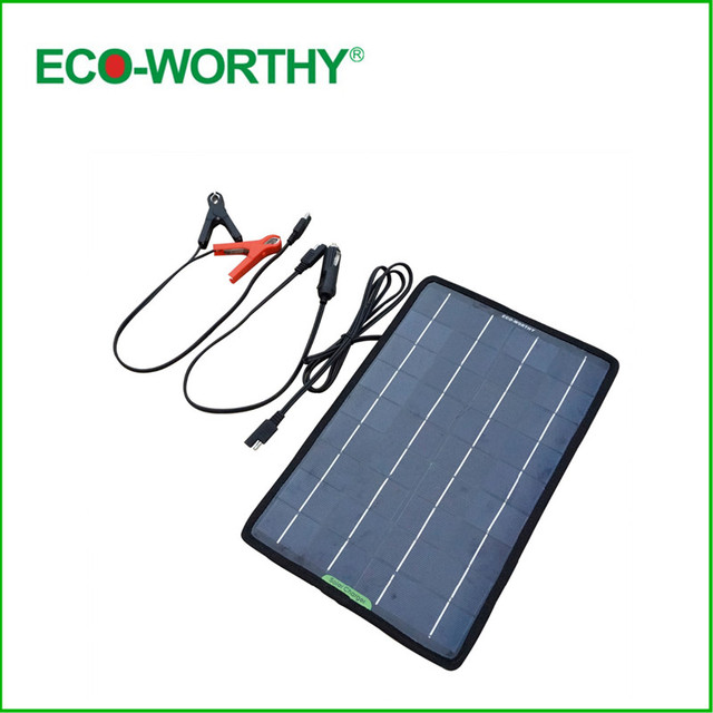 Eco Worthy 12 Volts 10 Watts Portable Solar Panel Battery Charger Backup For Car Boat With Alligator Clip Adapter