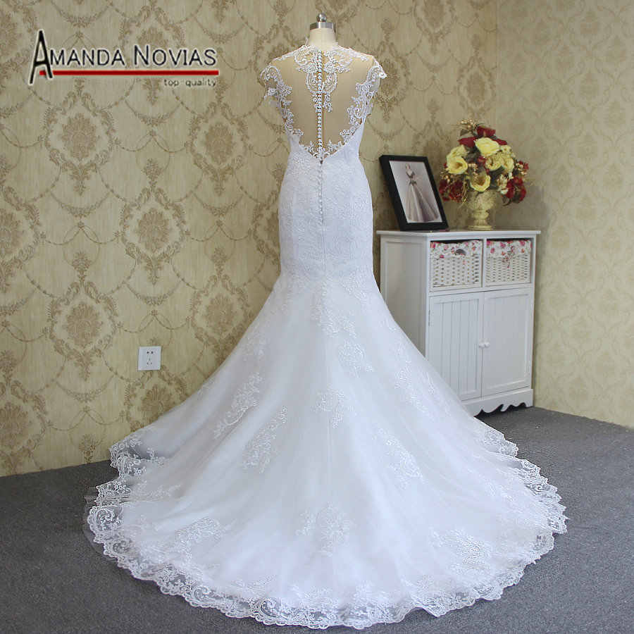 2019 Sexy Mermaid wedding dress  vestido de noiva Cap Sleeve robe de mariee Hot Sale  Lace Wedding Dress Amanda Novias