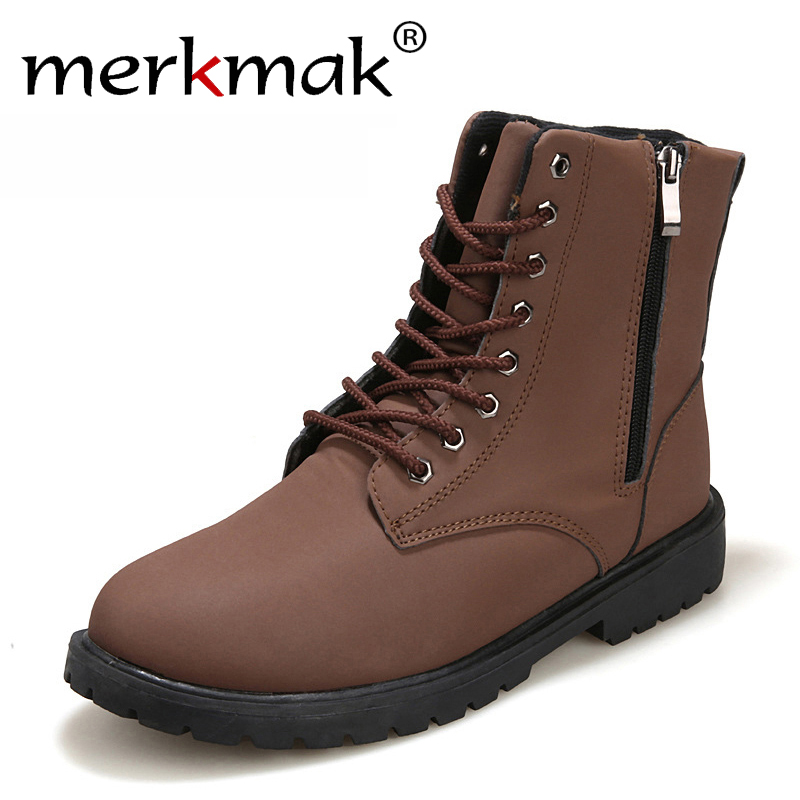 Merkmak Tactical Waterproof Winter Warm Snow Boots Men Vintage Leather Motorcycle Ankle Short High Cut Male Casual Ankle Boots