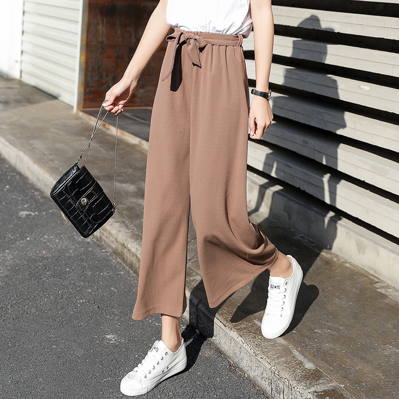 Ccibuy Women Pantalones Tie Wide Leg Solid Color Pant Female High Waist Thin Chiffon Plus Size Casual Ladies Culottes Trousers