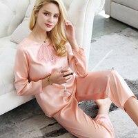 100% натуральный шелк Для женщин спальный модные Пижамные брюки комплекты Высокое качество mulbery одноцветное Пижама комплект одежды для дома