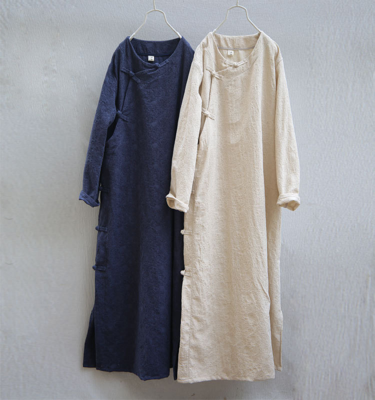 Vintage Frog Buttons Floral Jacquard Women Cotton Linen Dress High Quality Medium Thick Spring Autumn Classic