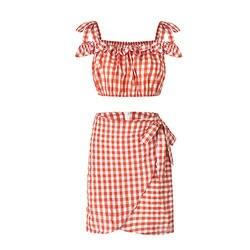 Клетчатый комплект из двух предметов для женщин Повседневная Женская обувь Топ + юбка с короткими рукавами костюм оборками пикантная