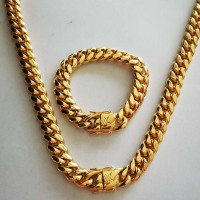 News Arrival Stainless Steel Curb Cuban Chain Necklace Bracelet Boys Mens Miami Chain Dragon Clasp Link jewelry Sets