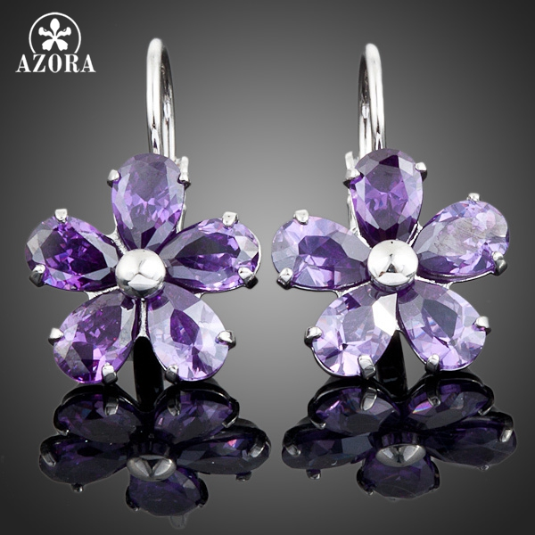 b155fa40b AZORA White Gold Color Purple Flower Stellux Austrian Crystal Stud Earrings  TE0005