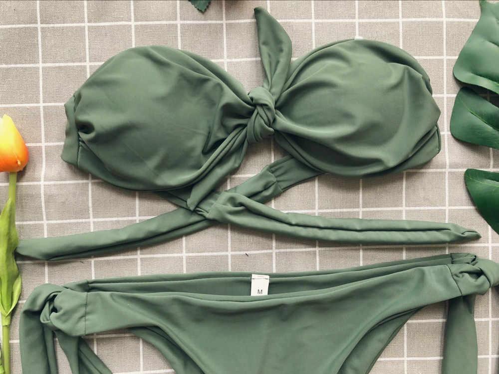 0760f56c308d7 ... Pinup низкая талия бикини галстук-бабочку Купальник бандо Комплект  бикини Для женщин Твердые бразильский ванный
