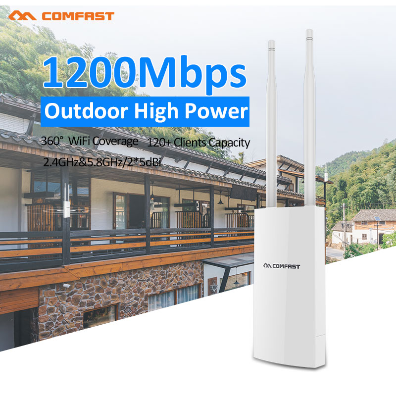 1200Mbps Dual Band 5Ghz Wireless Outdoor AP/Staion 2*6dbi Antenna High power Wifi Coverage Access point Wi-fi Repeater Router comfast 750mbps 802 11ac dual band wireless router with 6 6dbi antenna wifi 128mb ddr high power wifi router wi fi wide coverage