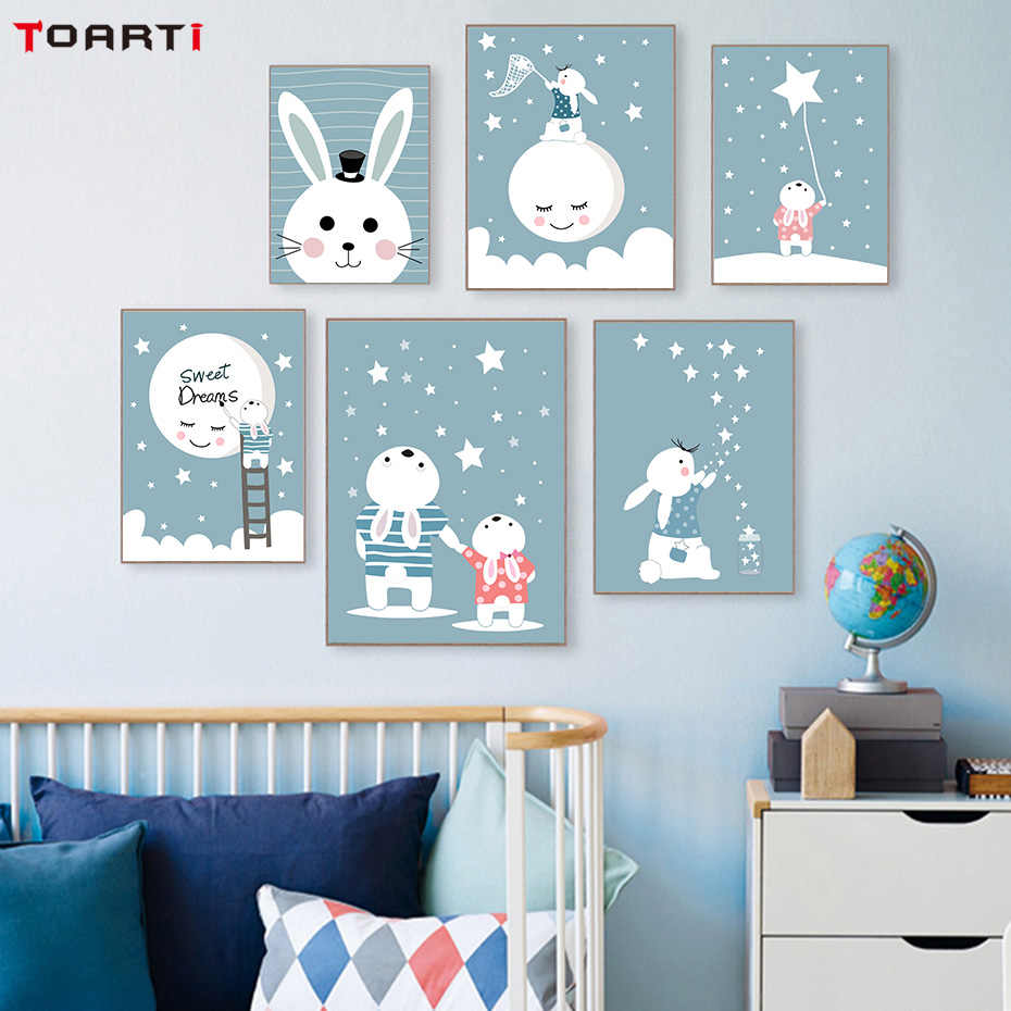Rabbit Star Moon Canvas Painting Colorful Cartoon Nursery Posters&Prints For Children Bedroom Wall Art Decoration Pictures