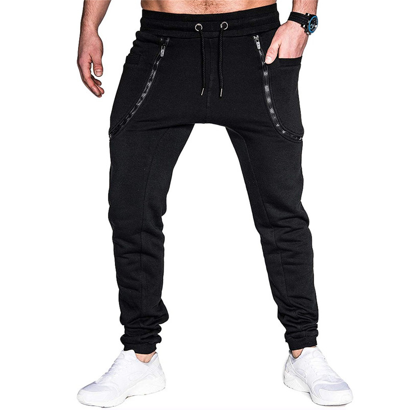 Men Pocket Pure Color Overalls Casual Pocket Sport Work Casual Trouser Pants Sports Running Accessories Pants 40LY05 (12)
