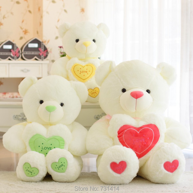 Retail 4 Dimensions Giant Plush Heart Teddy Bear Toys Green Red And