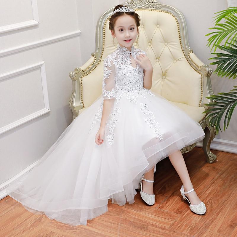 Girls Attend The Banquet The First White Dress 2019 New White Wedding Dress Girl Princess Birthday Party Vestidos De Fiesta