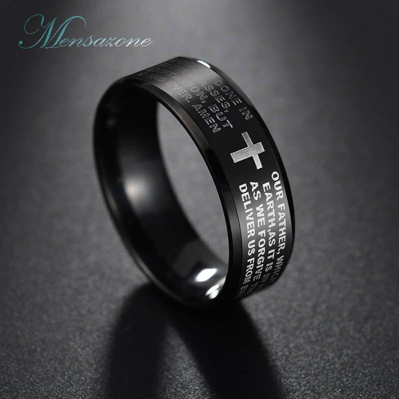 MENSAZONE Fashion Scripture Cross Bible Letter Men Ring Titanium Steel Lords Prayer Jesus Finger Ring For Women Gift