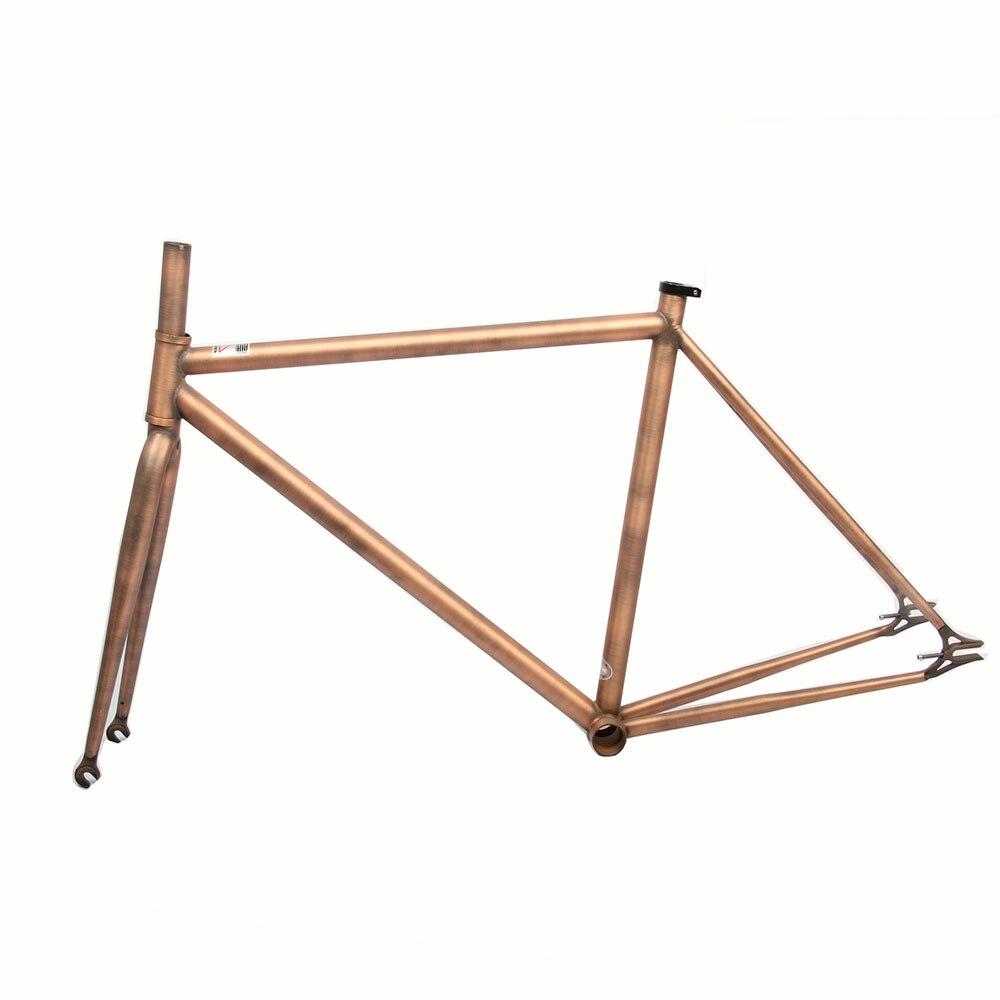 fixed gear bike aluminum frame brushed brass restoring ancient vintage retro 700c bicycle framesetchina