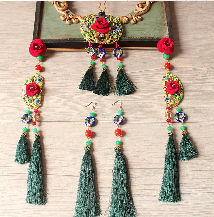 Cloisonne green tassle orient hair sticks bride tiara Wedding hairpin earrings set bride hair accessories цена