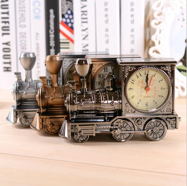 Wholesale 3pcslot, Classic Railway Engine with Clock, Creative Classic Desktop Living Room Decoration Birthday Gifts A56