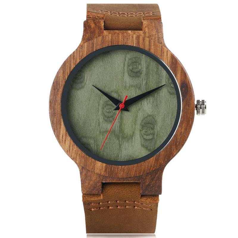 Trendy Casual Men Women Wooden Quartz Watch with Genuine Leather Watchband Strap Analog Green Dial Fashion Wood Wristwatch Gift fashion cool punk rock design men quartz wooden watch modern black genuine leather watchband unique wood watches gift for male