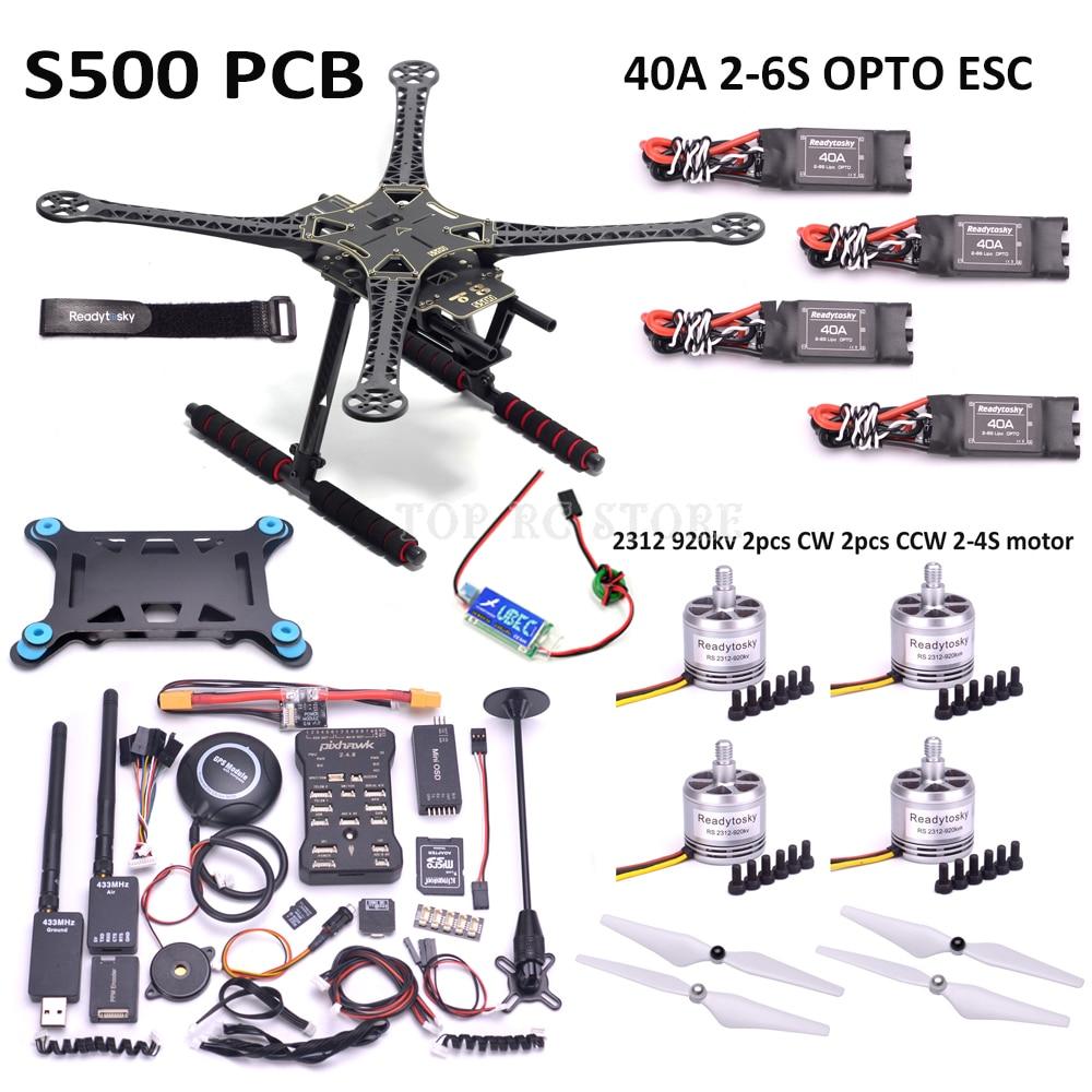 X500 S500 PCB 500 milímetros Kit Quadro Quadcotper F450 Pixhawk 2.4.8 32 M8N Bit Controlador de Vôo GPS Mini OSD 2312 920KV 40A ESC 2-6 S