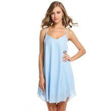 Chiffon Spaghetti Strap Mini Dresses Woman Casual Loose Solid Sleeveless V-neck Summer Female