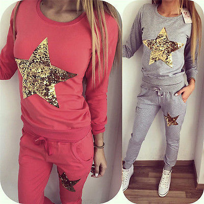 2016 Sequined Star shirt Top and Pants Set 2 Two Piece Set Tracksuit Fashion Sweat Suits Women Outfit
