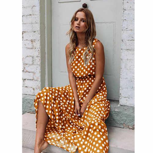 Oufisun D'été Sans Manches À Pois Robe Midi Femme décontracté Mode Robes A-ligne Boho Élégant Plage Longue Robe Vestidos