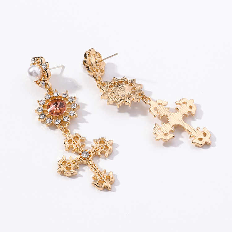 SHIFEEL Neue Mode 925 sterling silve Korea redvelvet Barock Strass Perle Kreuz Ohrringe Lange Pendientes Für Frauen