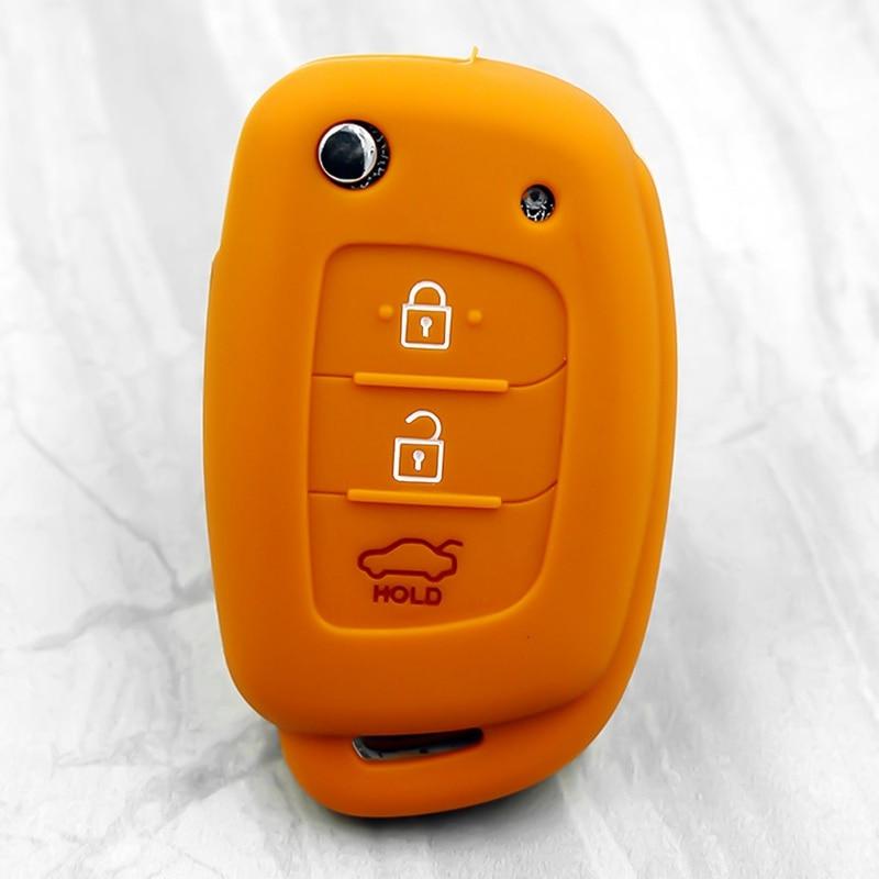 3 кнопки силиконовый автомобильный чехол для дистанционного ключа Защитная крышка для hyundai Creta I10 I20 Tucson Elantra - Название цвета: OR