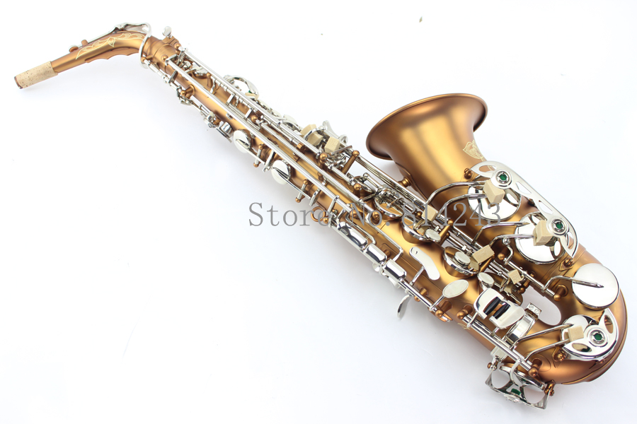 New Nickel Plated Coffee Brass Plated alto saxophone alto sax mouthpiece Silver key eb with case. alto saxophone new eb selmer silver alto saxophone plated brass musical instruments professional saxophone alto sax e flat