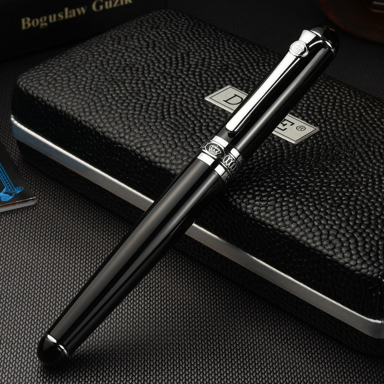 Luxury Gift Pen Set Duke d2 Smooth Black Metal Fountain Pen 0.5mm Iridium Nib Ink Pens for Writing School Supplies Free Shipping duke luxury writing business stationery black and gold 0 5mm fountain pen with blue gem on the top metal ink pens free shipping