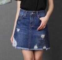 Корейские милые синие юбки джинсовые с высокой талией джинсы Юбки для подростков рваные сексуальные мини юбки Faldas Mujer Большие размеры 4xl