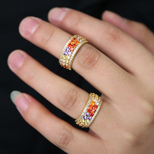 2019top quality gold filled luxury multi color cz engagement ring rainbow cubic zirconia dainty rings for women gorgeous Jewelry