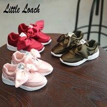 d3f5f20f8 Meninas de Todos Os Jogos Baixos Tênis Arco nó Princesa Crianças Respirável  Sapatos Esportivos Calçados Casuais