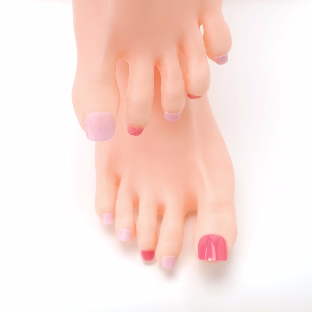48pcs Rose Pink Candy Toe Fake Nails DIY Fashion Acrylic False ...