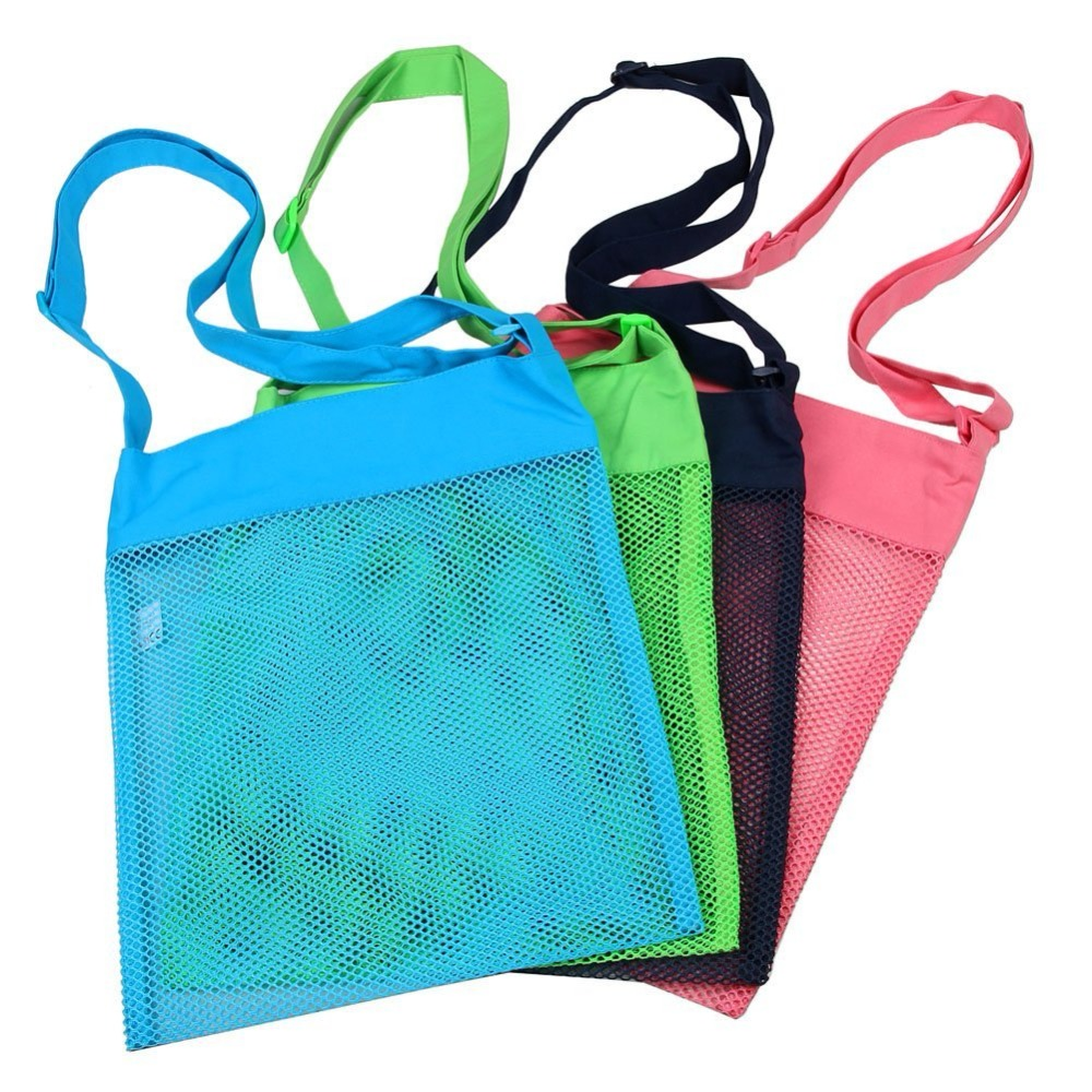 Colorful Mesh Beach Bags 11.4 X 13.7inch Breathable Sea Shell Bags With Adjustable Carrying Straps (4 PC Set)