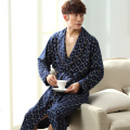 Male robe autumn and winter thickening long sleeve length bathrobe Men robe spring and autumn 100% cotton sleepwear 100% cotton