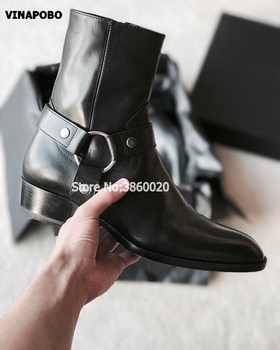 2018 VINAPOBO Black Genuine Leather Buckle Strap Chains Men flat Chelsea Boots Elastic band Pactchwork Ankle Shoes Luxury Brand - DISCOUNT ITEM  40% OFF All Category