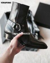2018 VINAPOBO جلد طبيعي أسود مشبك حزام سلاسل الرجال شقة تشيلسي الأحذية شريط مرن Pactchwork حذاء قصير ماركة فاخرة