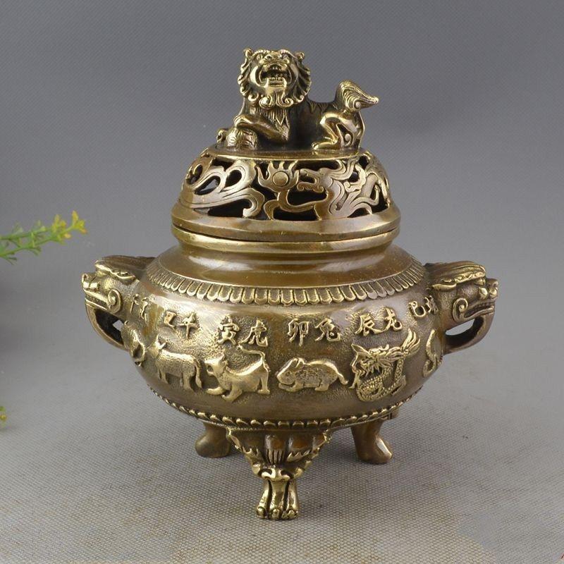 Chinese Archaize Brass Twelve Zodiac Statue Incense Stove CraftsChinese Archaize Brass Twelve Zodiac Statue Incense Stove Crafts