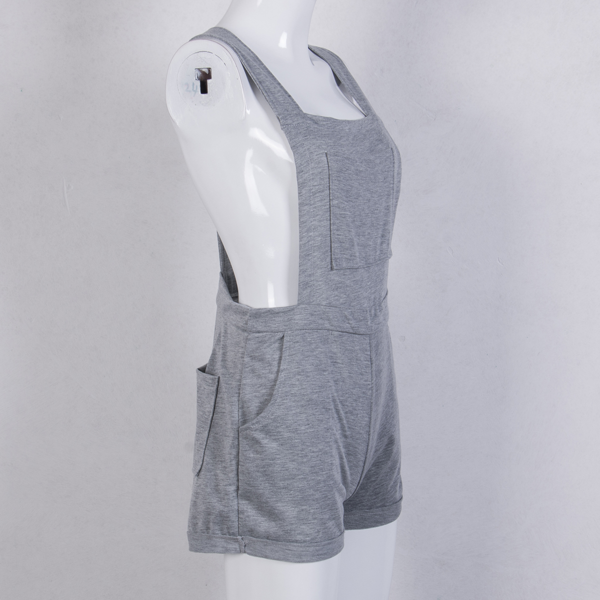 Women Clubwear Solid Playsuit New Ladies Gray Pocket Party Plain Jumpsuit Rompers Trousers Woman Clothing