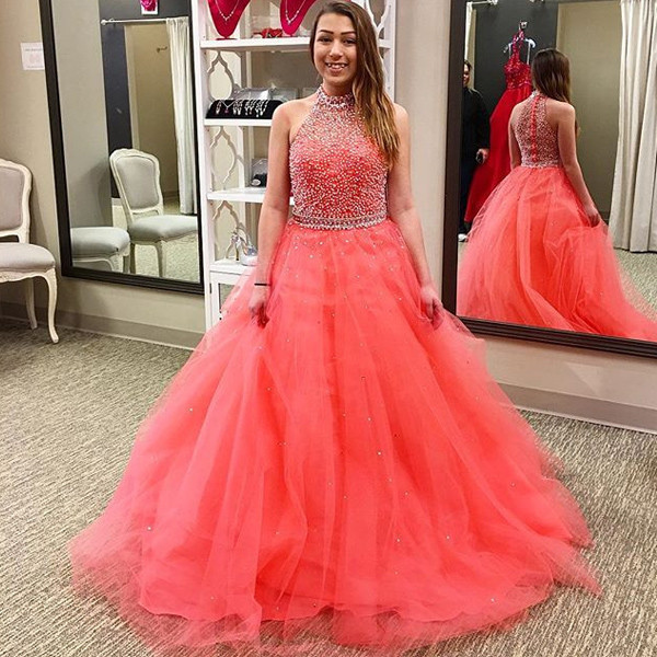 2017 Coral Ball Gown Prom Dresses High Neck Fully Beaded Bodice ...