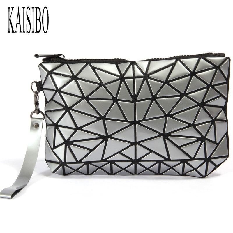 KAISIBO New Fashion PVC Makeup Bag Necessaries Geometric Folding Stone Women Travel Cosmetic Bag Organizer Clutch